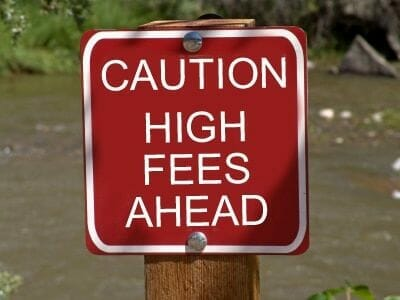 caution high fees ahead sign
