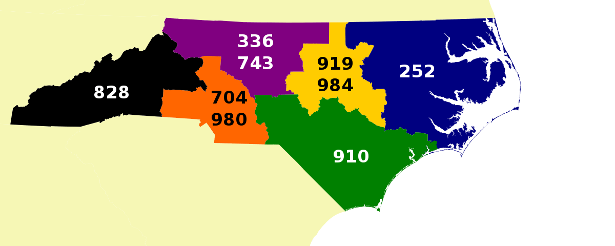 north carolina area code map