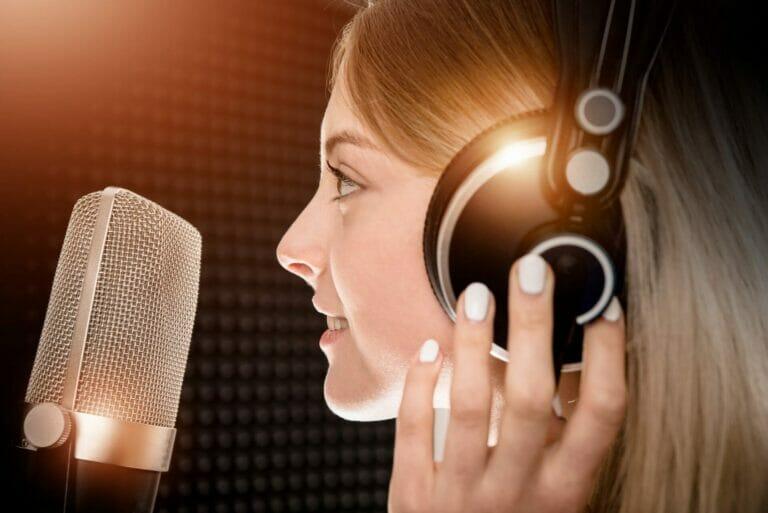 female in recoding studio