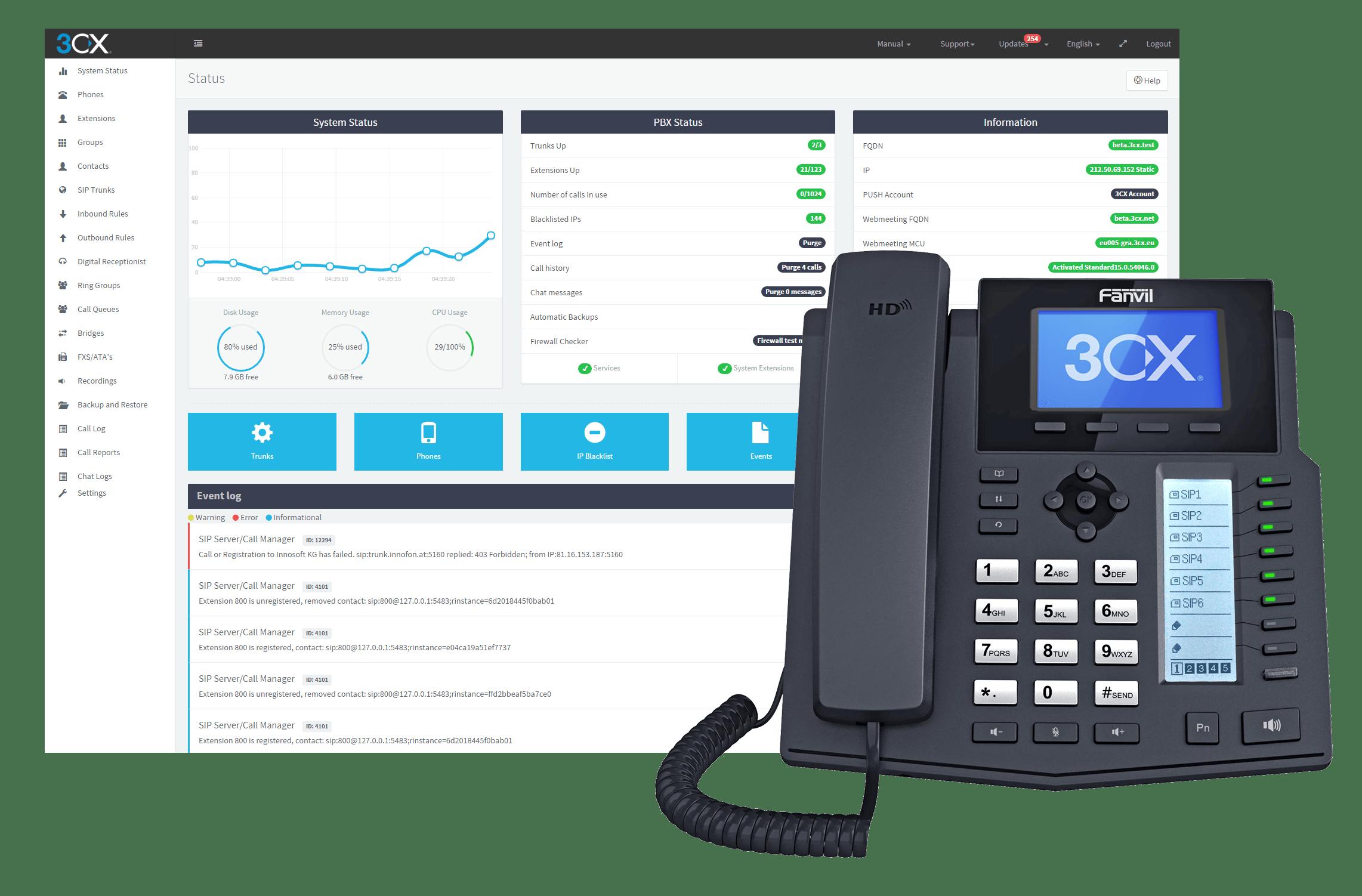 3cx dashboard and phone