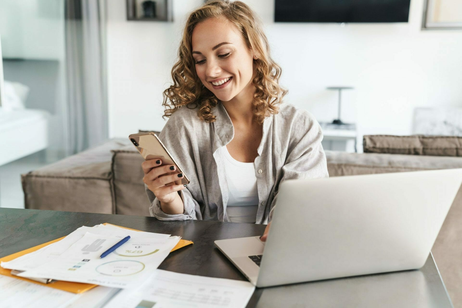 women working at home phone
