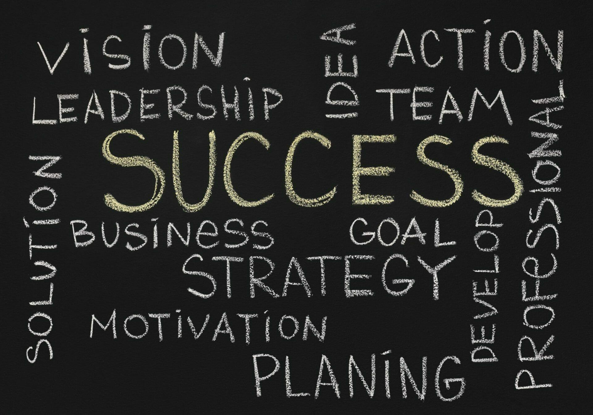 success concept chalk board