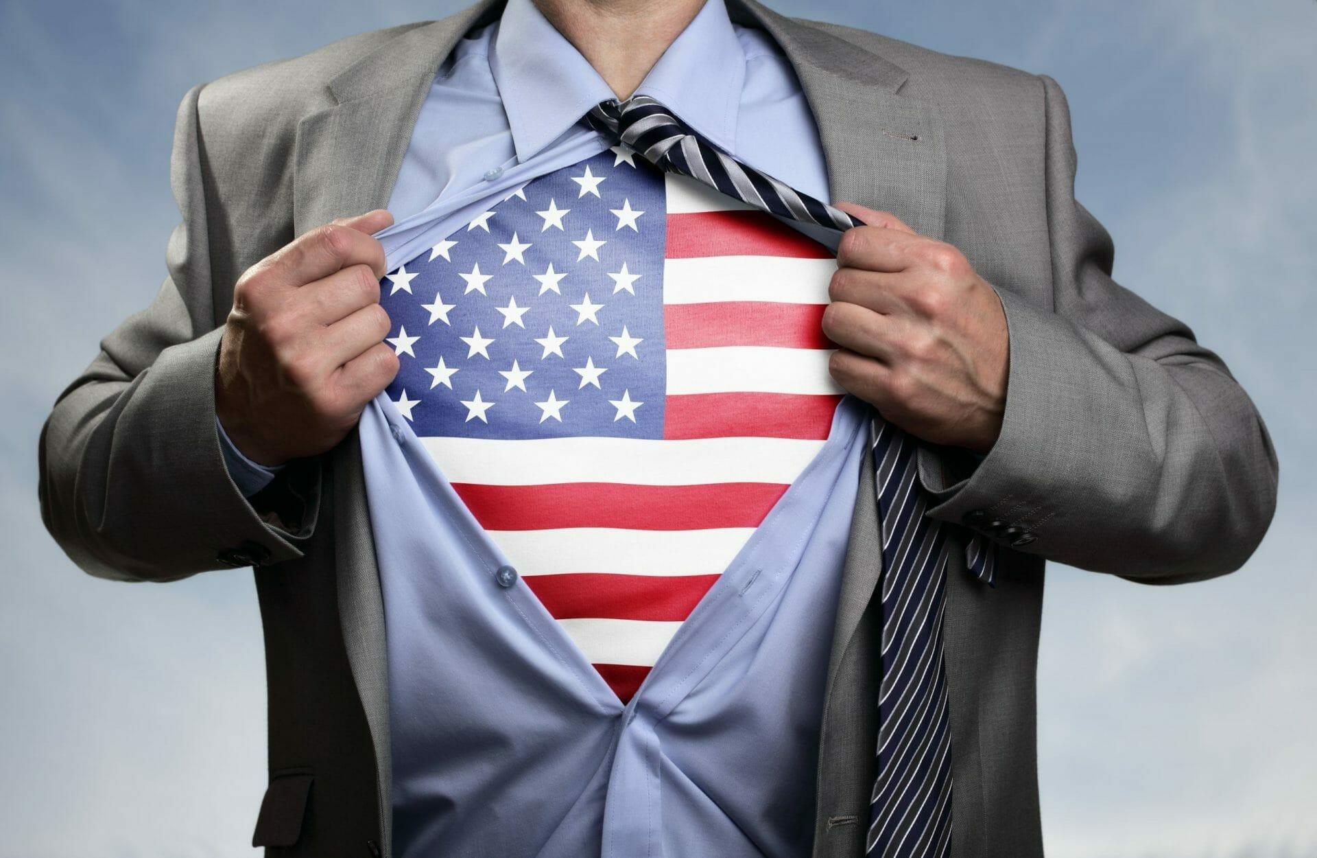 american shirt under business suit