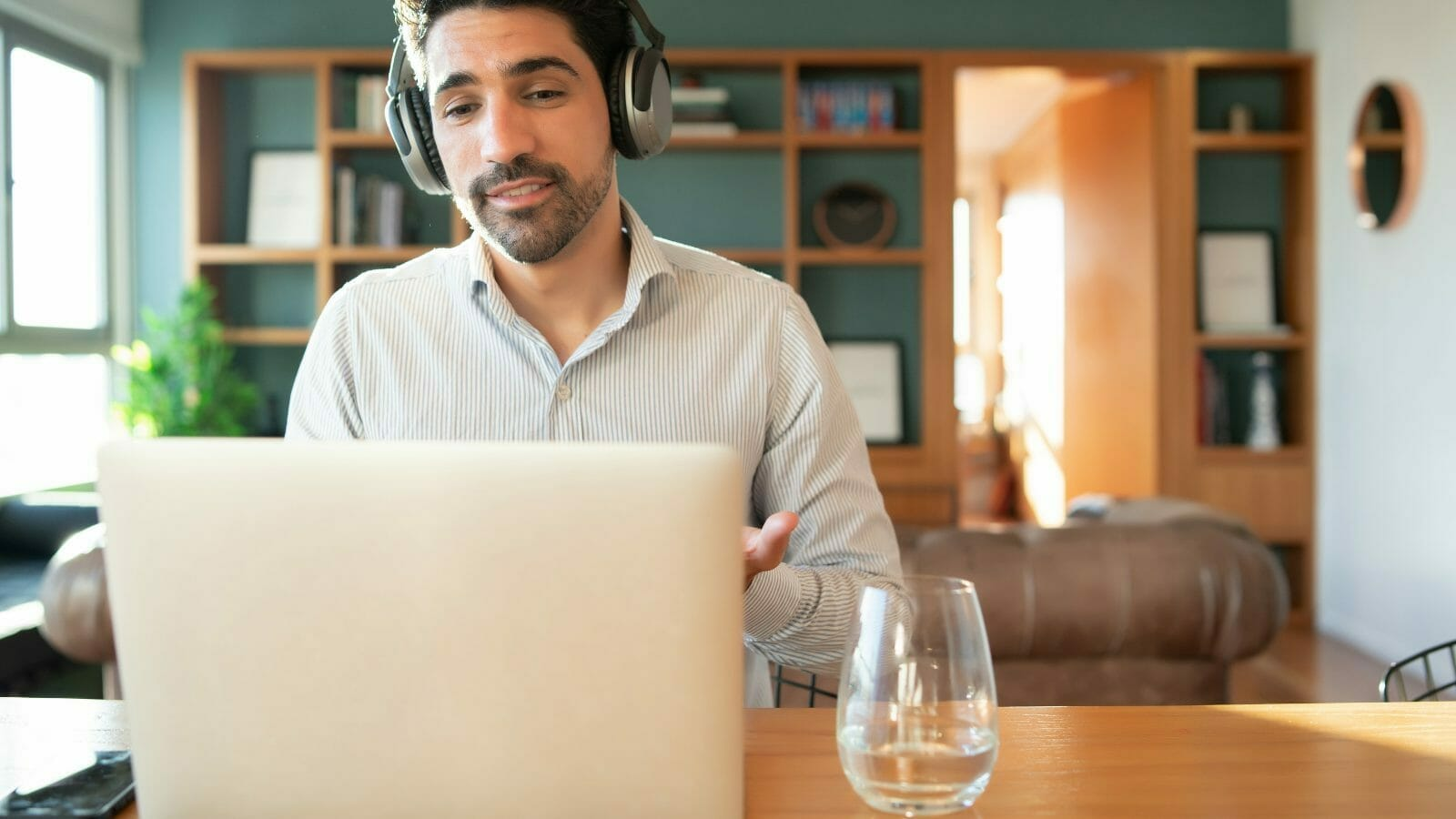 man using easy video conferencing